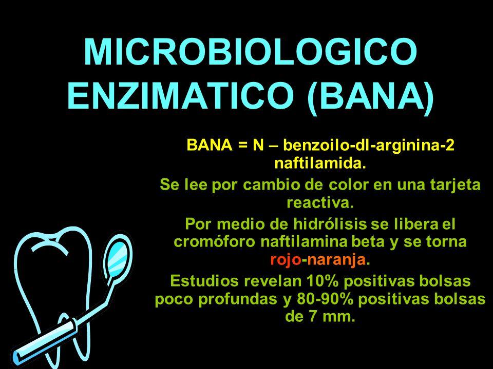 MICROBIOLOGICO ENZIMATICO (BANA) BANA = N – benzoilo-dl-arginina-2 naftilamida. Se lee por cambio de color en una tarjeta reactiva. Por medio de hidró