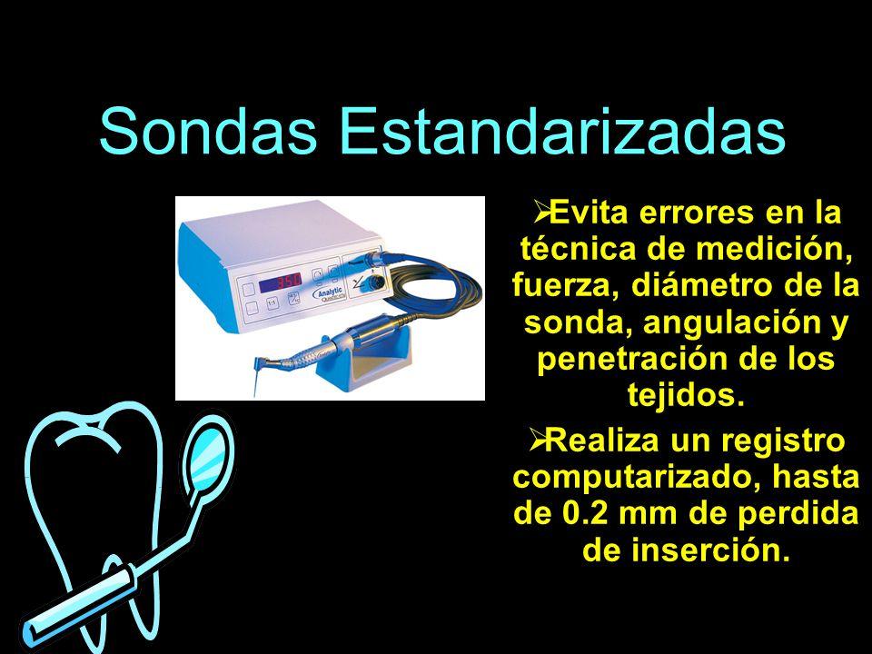 Sondas Estandarizadas Evita errores en la técnica de medición, fuerza, diámetro de la sonda, angulación y penetración de los tejidos. Realiza un regis