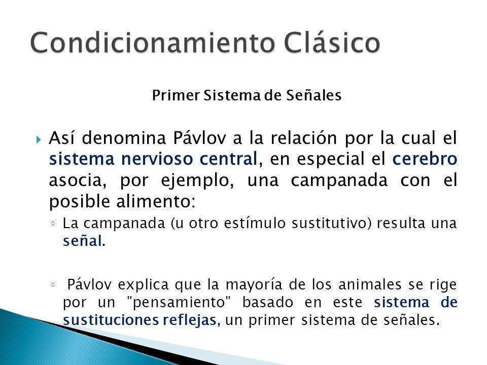 Primer Sistema de Señales Así denomina Pávlov a la relación por la cual el sistema nervioso central, en especial el cerebro asocia, por ejemplo, una c