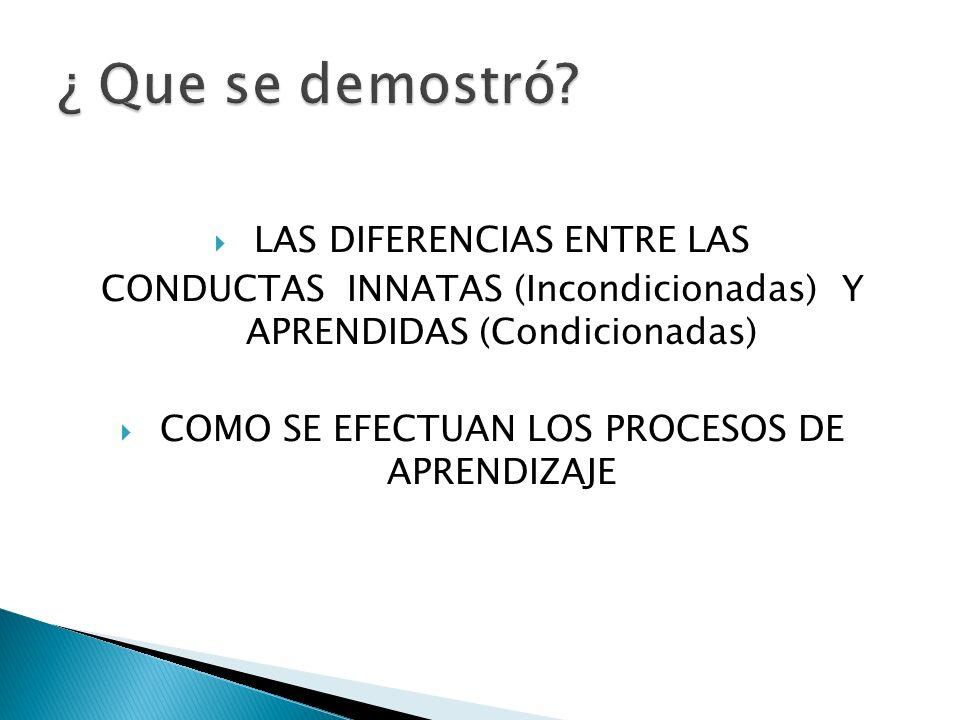 LAS DIFERENCIAS ENTRE LAS CONDUCTAS INNATAS (Incondicionadas) Y APRENDIDAS (Condicionadas) COMO SE EFECTUAN LOS PROCESOS DE APRENDIZAJE