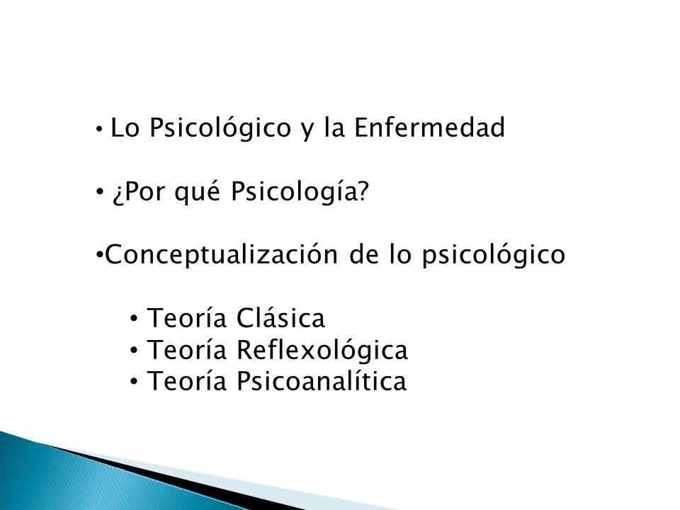 Lo Psicológico y la Enfermedad ¿Por qué Psicología? Conceptualización de lo psicológico Teoría Clásica Teoría Reflexológica Teoría Psicoanalítica