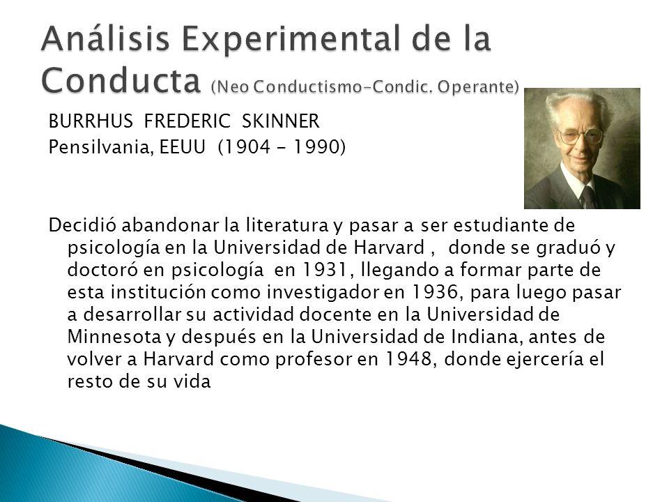 BURRHUS FREDERIC SKINNER Pensilvania, EEUU (1904 - 1990) Decidió abandonar la literatura y pasar a ser estudiante de psicología en la Universidad de H