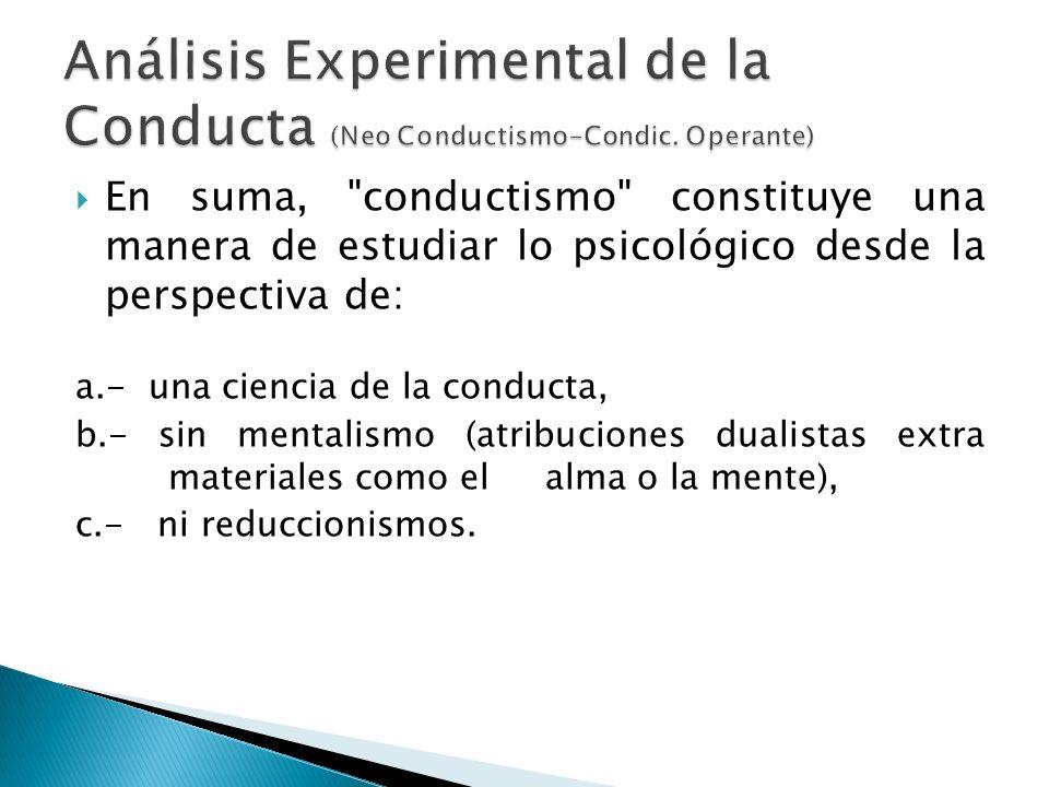 El trabajo de Skinner difiere de sus predecesores (condicionamiento clásico), en que él estudió la conducta operatoria (conducta voluntaria) usada en operaciones dentro del entorno.