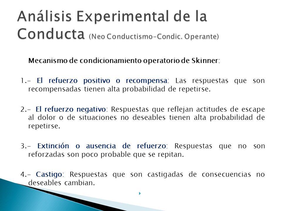 Skinner toma el paradigma Estímulo-Respuesta- Consecuencia : (E-R-C) Es posible explicar la conducta de los individuos como un conjunto de respuestas condicionadas por el entorno, se entregó al estudio de las posibilidades que ofrecía el control científico de la conducta mediante técnicas de refuerzo negativo y positivo.
