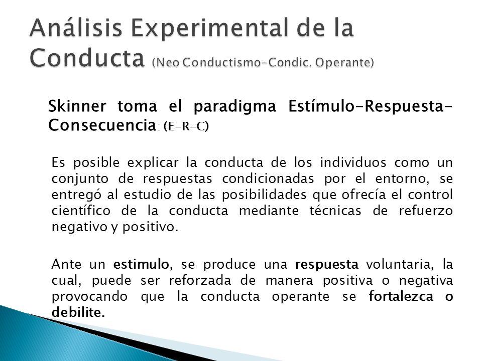 Skinner toma el paradigma Estímulo-Respuesta- Consecuencia : (E-R-C) Es posible explicar la conducta de los individuos como un conjunto de respuestas