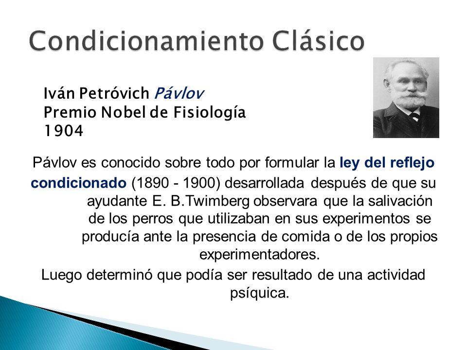 Pávlov es conocido sobre todo por formular la ley del reflejo condicionado (1890 - 1900) desarrollada después de que su ayudante E. B.Twimberg observa