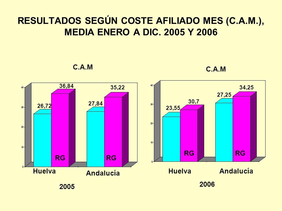 RESULTADOS SEGÚN COSTE AFILIADO MES (C.A.M.), MEDIA ENERO A DIC. 2005 Y 2006 2005 2006 Huelva Andalucía RG HuelvaAndalucía C.A.M 26,72 36,84 27,84 35,