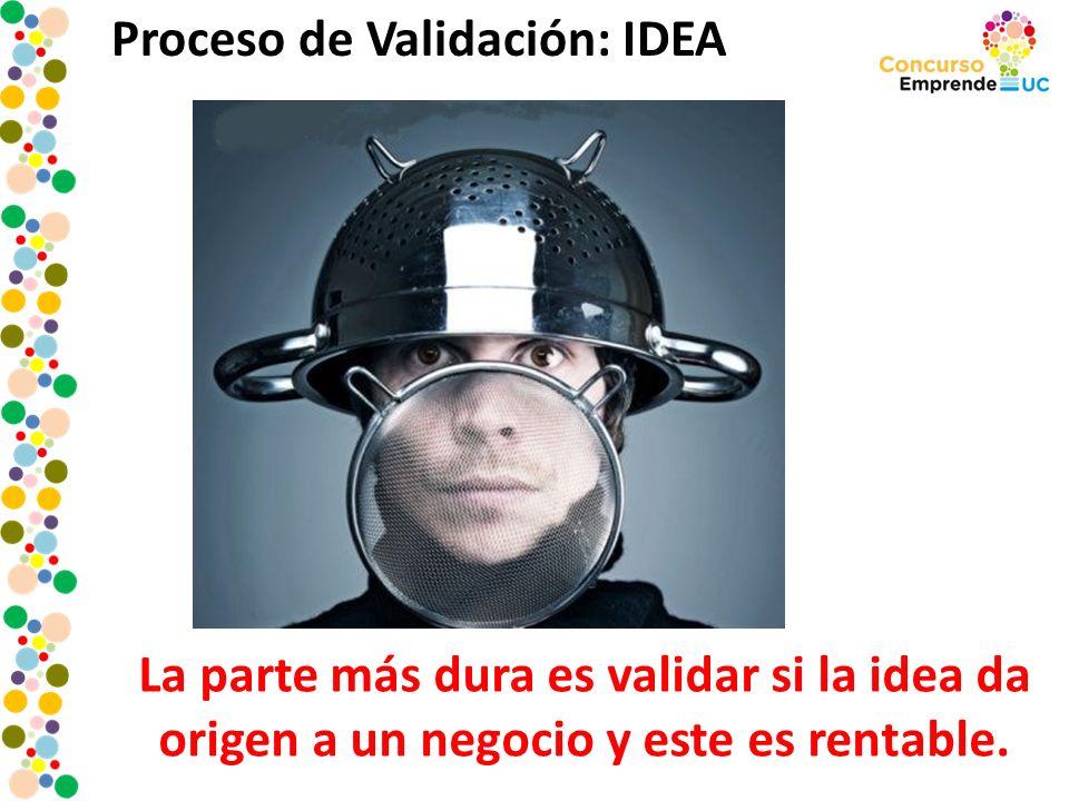 Proceso de Validación: IDEA La parte más dura es validar si la idea da origen a un negocio y este es rentable.