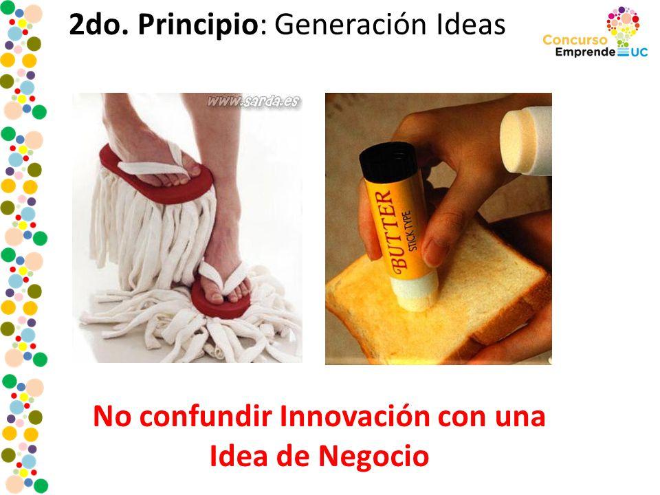 2do. Principio: Generación Ideas No confundir Innovación con una Idea de Negocio