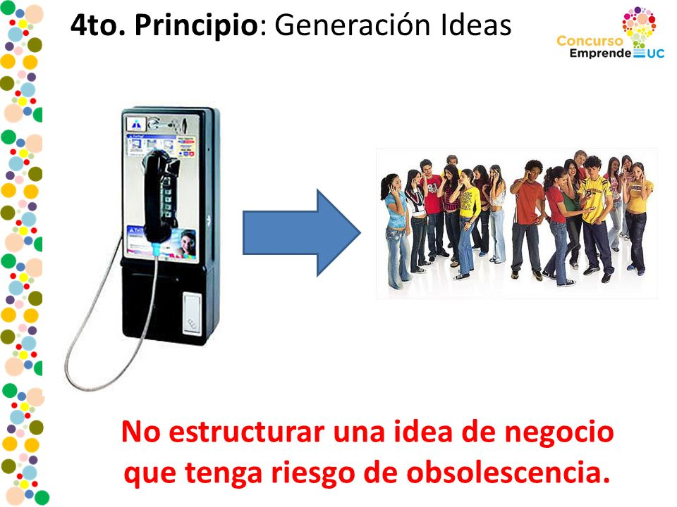 4to. Principio: Generación Ideas No estructurar una idea de negocio que tenga riesgo de obsolescencia.