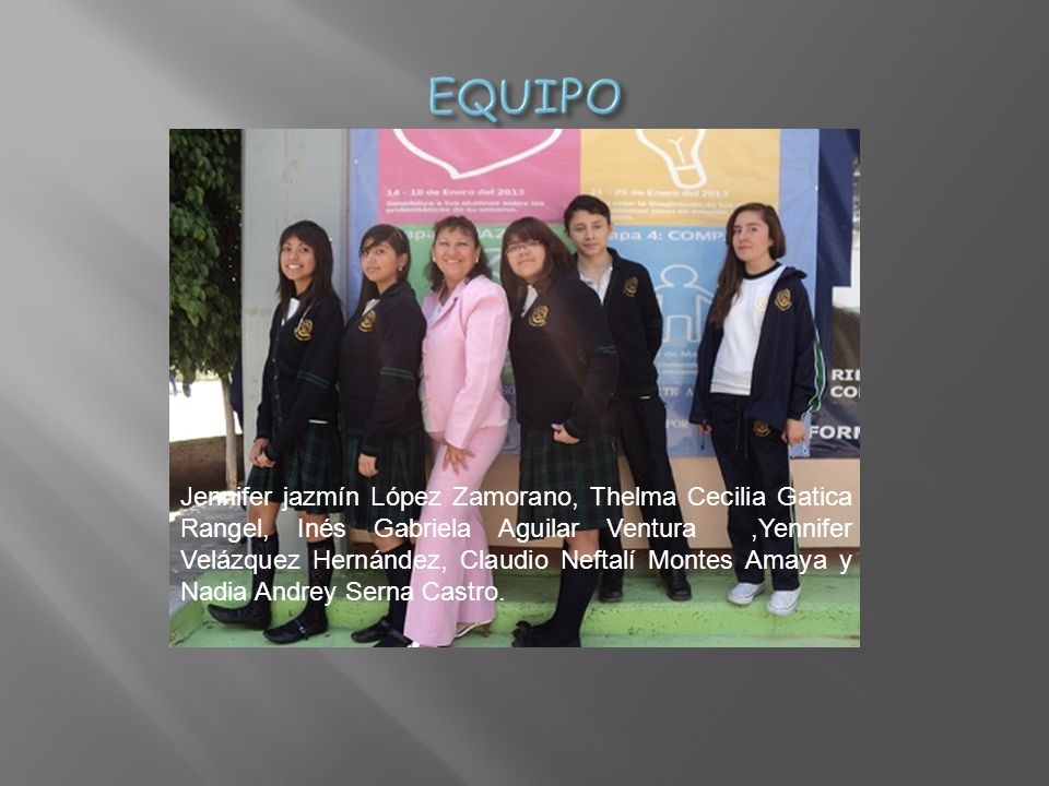 Jennifer jazmín López Zamorano, Thelma Cecilia Gatica Rangel, Inés Gabriela Aguilar Ventura,Yennifer Velázquez Hernández, Claudio Neftalí Montes Amaya