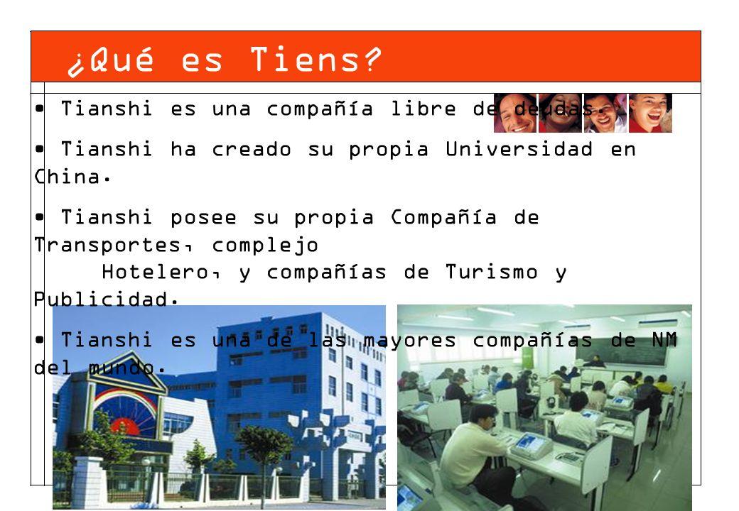 Tianshi es una compañía libre de deudas. Tianshi ha creado su propia Universidad en China. Tianshi posee su propia Compañía de Transportes, complejo H