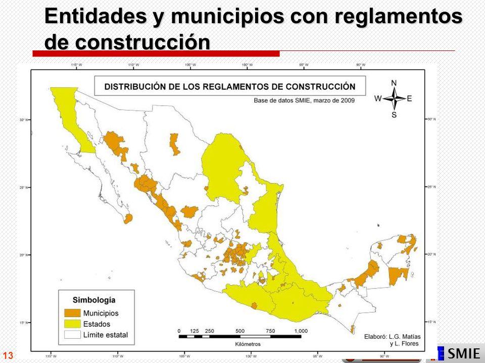 SMIE 13 Entidades y municipios con reglamentos de construcción