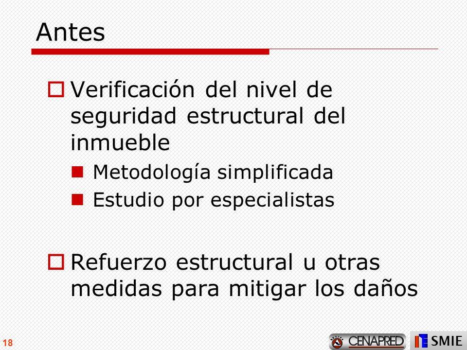 SMIE 18 Antes Verificación del nivel de seguridad estructural del inmueble Metodología simplificada Estudio por especialistas Refuerzo estructural u o