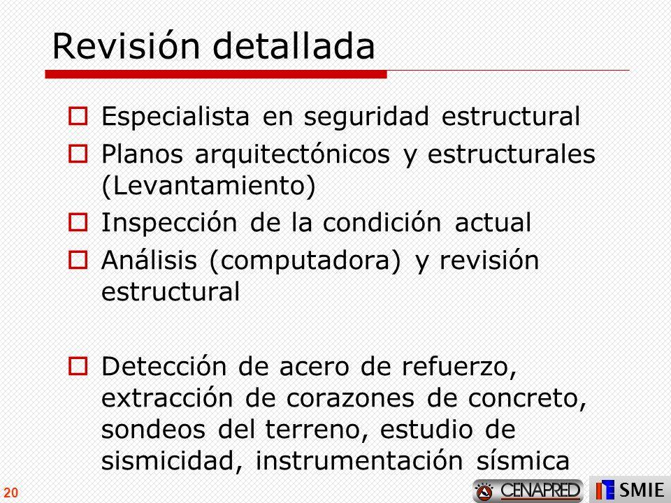 SMIE 20 Revisión detallada Especialista en seguridad estructural Planos arquitectónicos y estructurales (Levantamiento) Inspección de la condición act