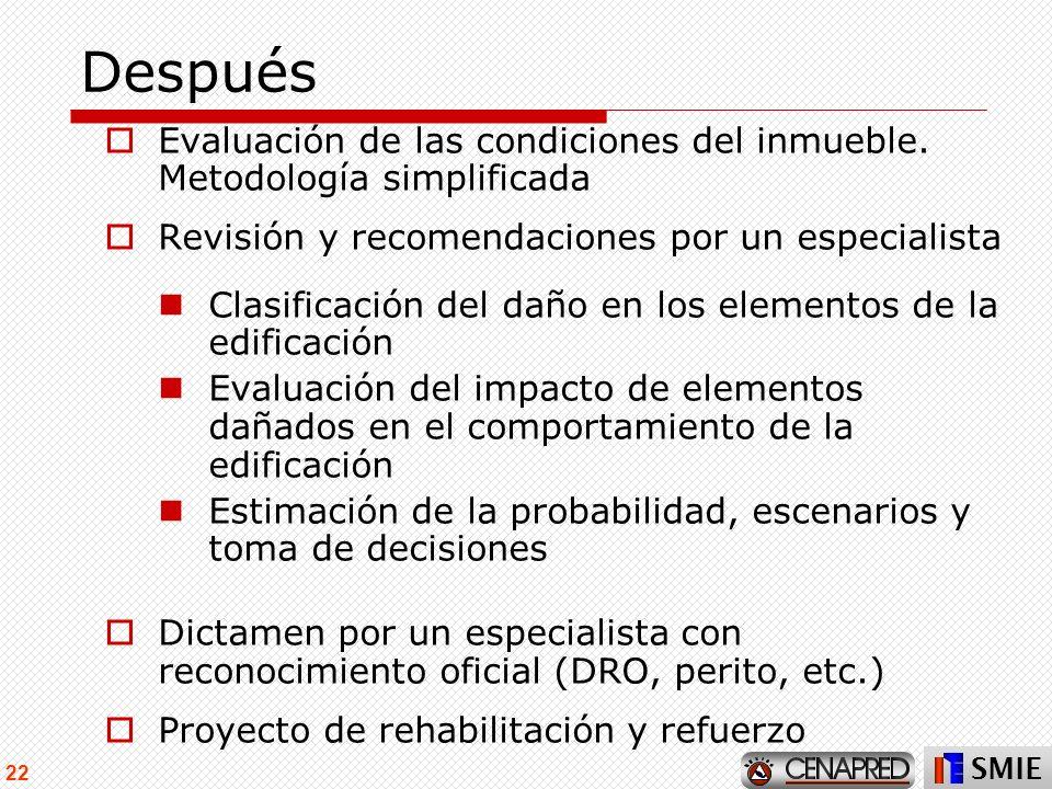 SMIE 22 Después Evaluación de las condiciones del inmueble. Metodología simplificada Revisión y recomendaciones por un especialista Clasificación del