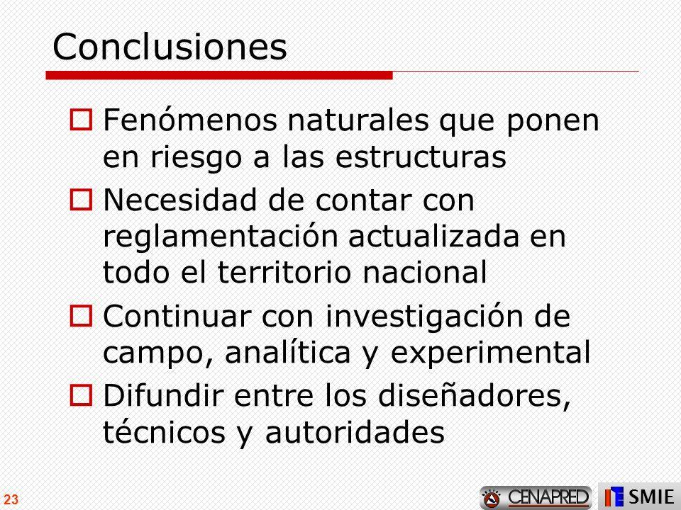 SMIE 23 Conclusiones Fenómenos naturales que ponen en riesgo a las estructuras Necesidad de contar con reglamentación actualizada en todo el territori