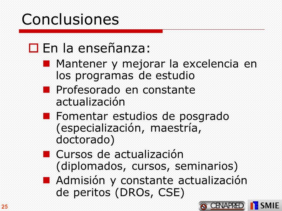 SMIE 25 Conclusiones En la enseñanza: Mantener y mejorar la excelencia en los programas de estudio Profesorado en constante actualización Fomentar est