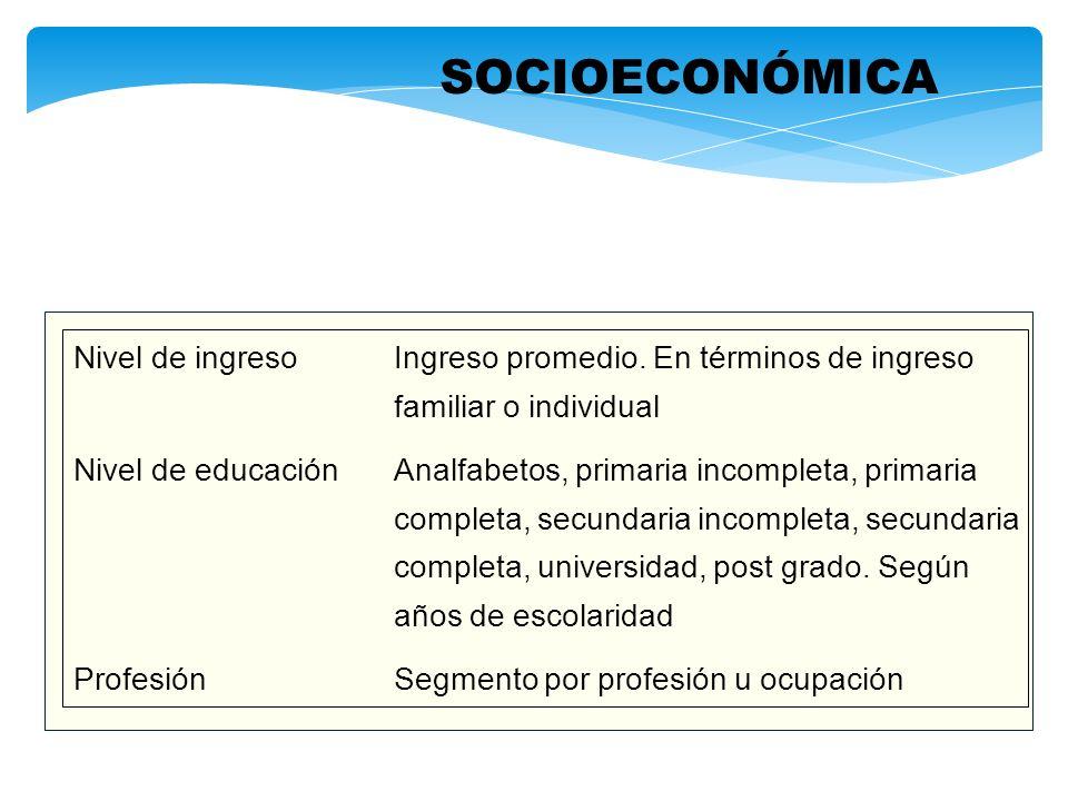 SOCIOECONÓMICA Nivel de ingresoIngreso promedio. En términos de ingreso familiar o individual Nivel de educaciónAnalfabetos, primaria incompleta, prim