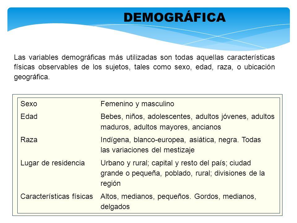 Las variables demográficas más utilizadas son todas aquellas características físicas observables de los sujetos, tales como sexo, edad, raza, o ubicac
