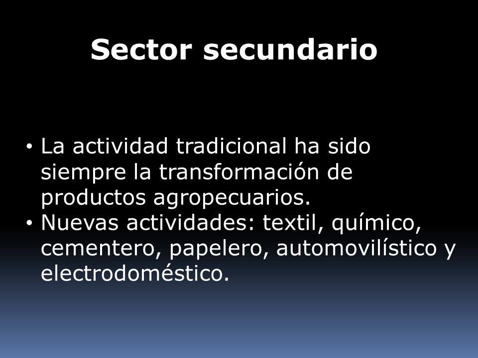 Sector secundario La actividad tradicional ha sido siempre la transformación de productos agropecuarios. Nuevas actividades: textil, químico, cementer