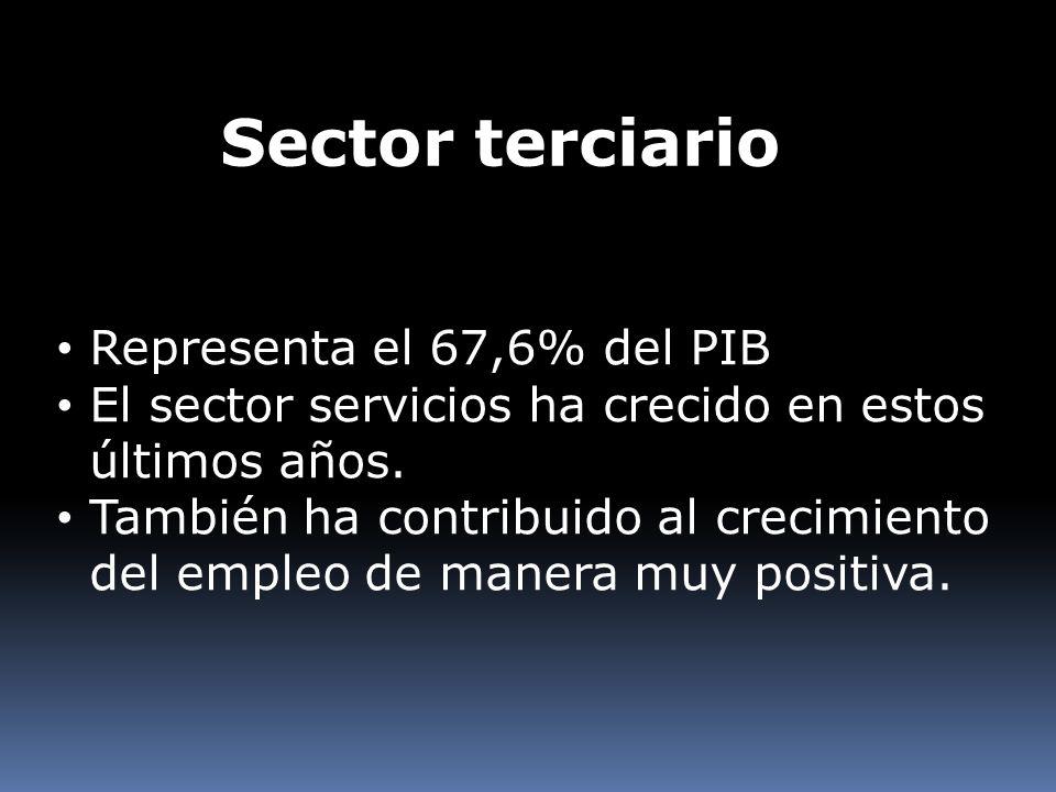 Sector terciario Representa el 67,6% del PIB El sector servicios ha crecido en estos últimos años. También ha contribuido al crecimiento del empleo de