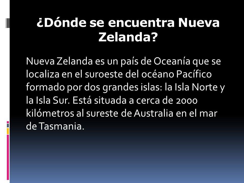 ¿Dónde se encuentra Nueva Zelanda? Nueva Zelanda es un país de Oceanía que se localiza en el suroeste del océano Pacífico formado por dos grandes isla