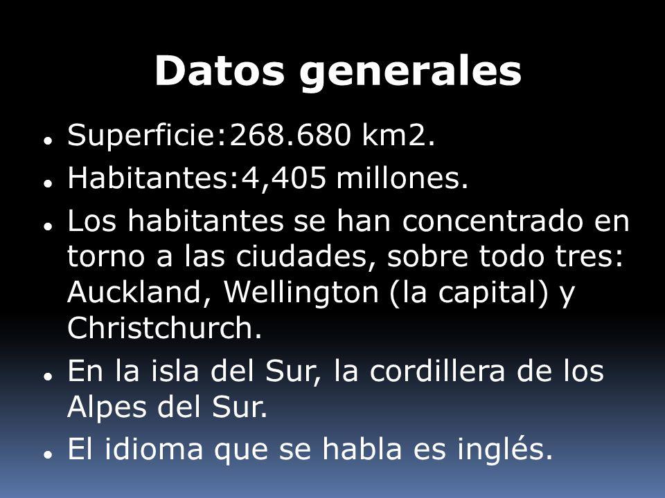 Datos generales Superficie:268.680 km2. Habitantes:4,405 millones. Los habitantes se han concentrado en torno a las ciudades, sobre todo tres: Aucklan