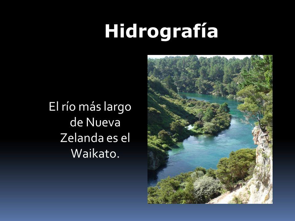 Hidrografía El río más largo de Nueva Zelanda es el Waikato.
