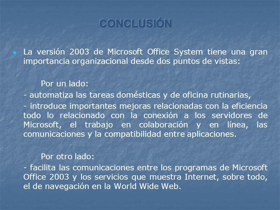 La versión 2003 de Microsoft Office System tiene una gran importancia organizacional desde dos puntos de vistas: Por un lado: - automatiza las tareas domésticas y de oficina rutinarias, - introduce importantes mejoras relacionadas con la eficiencia todo lo relacionado con la conexión a los servidores de Microsoft, el trabajo en colaboración y en línea, las comunicaciones y la compatibilidad entre aplicaciones.