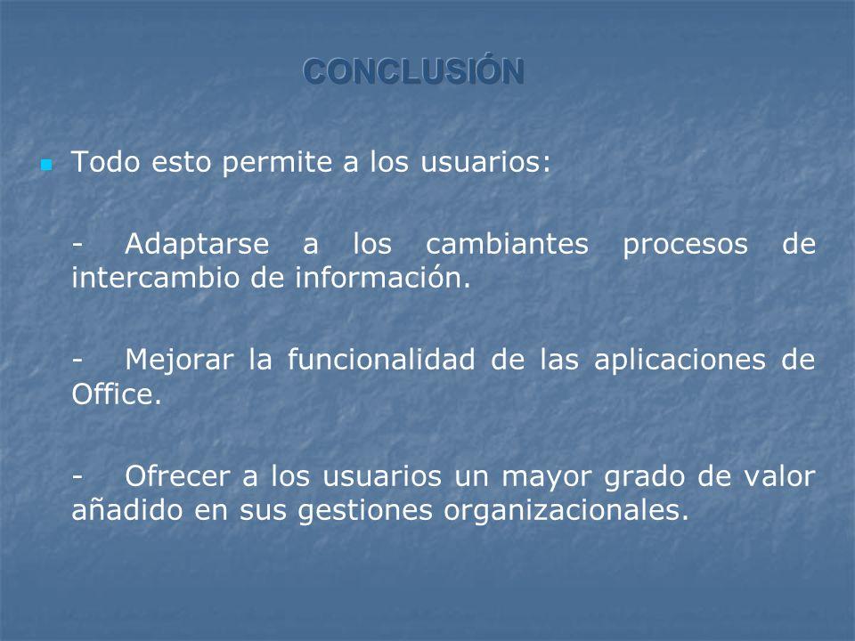 Todo esto permite a los usuarios: - Adaptarse a los cambiantes procesos de intercambio de información.