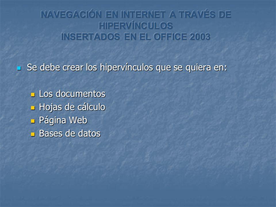 Se debe crear los hipervínculos que se quiera en: Se debe crear los hipervínculos que se quiera en: Los documentos Los documentos Hojas de cálculo Hojas de cálculo Página Web Página Web Bases de datos Bases de datos