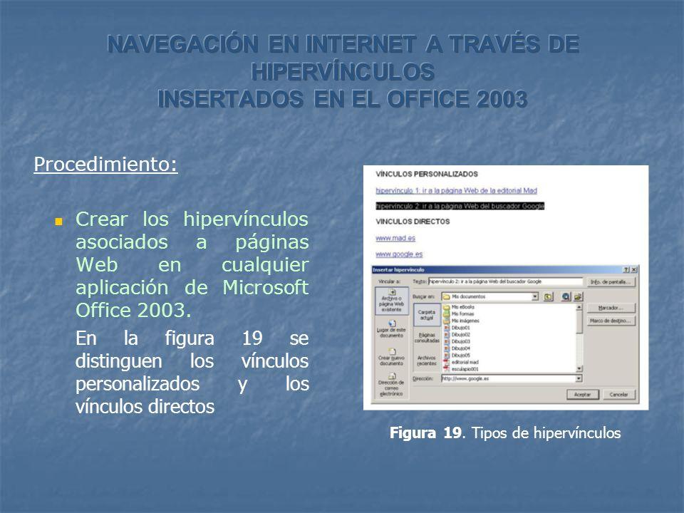 Procedimiento: Crear los hipervínculos asociados a páginas Web en cualquier aplicación de Microsoft Office 2003. En la figura 19 se distinguen los vín
