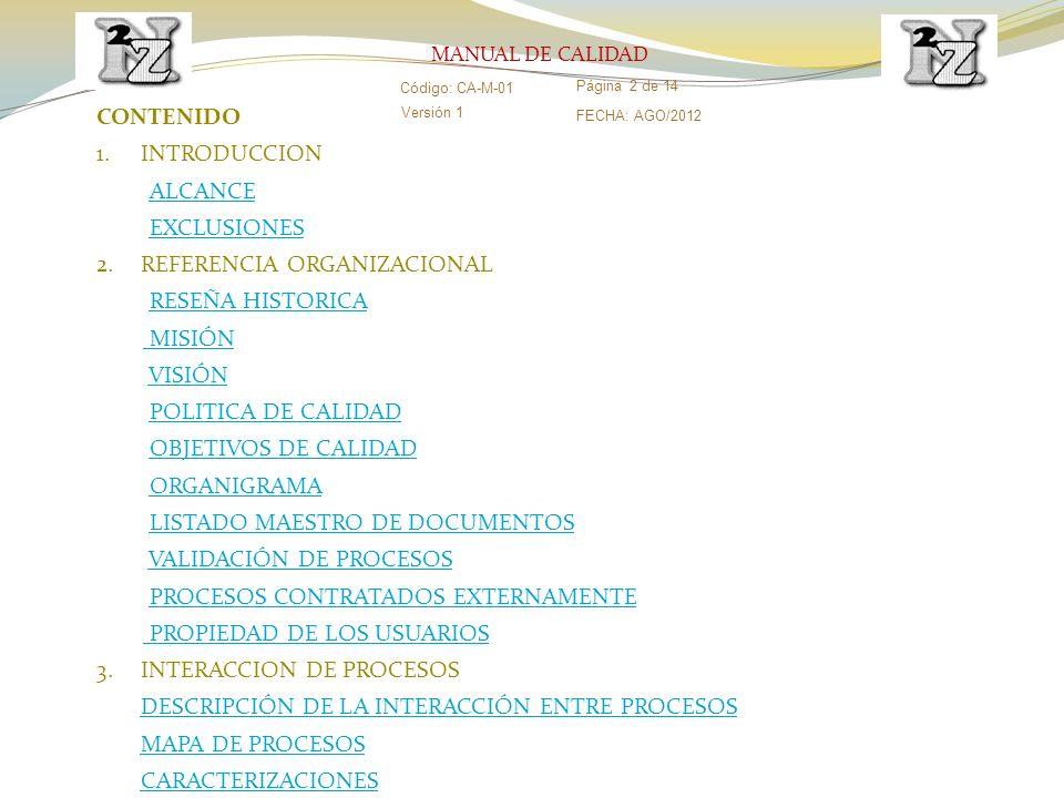 CONTENIDO 1.INTRODUCCION ALCANCE EXCLUSIONES 2.REFERENCIA ORGANIZACIONAL RESEÑA HISTORICARESEÑA HISTORICA MISIÓN MISIÓN VISIÓN POLITICA DE CALIDADPOLI