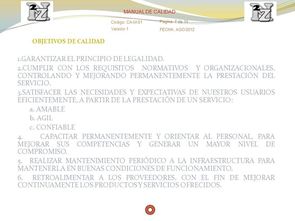 OBJETIVOS DE CALIDAD 1. GARANTIZAR EL PRINCIPIO DE LEGALIDAD. 2. CUMPLIR CON LOS REQUISITOS NORMATIVOS Y ORGANIZACIONALES, CONTROLANDO Y MEJORANDO PER