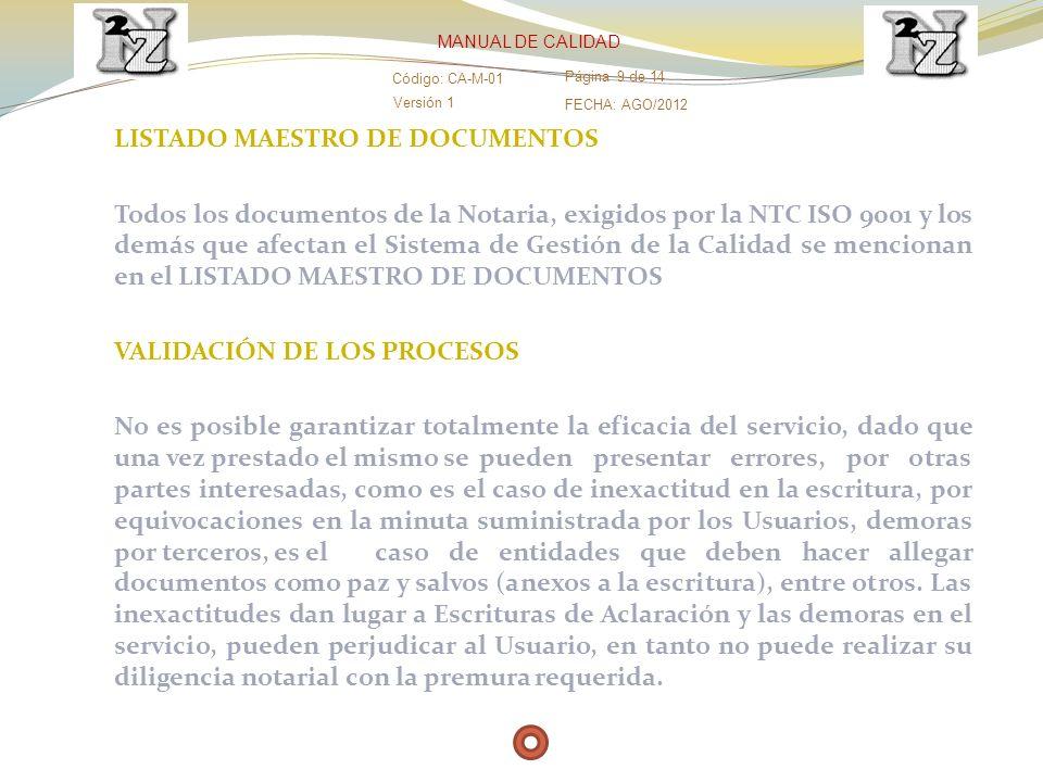 LISTADO MAESTRO DE DOCUMENTOS Todos los documentos de la Notaria, exigidos por la NTC ISO 9001 y los demás que afectan el Sistema de Gestión de la Cal