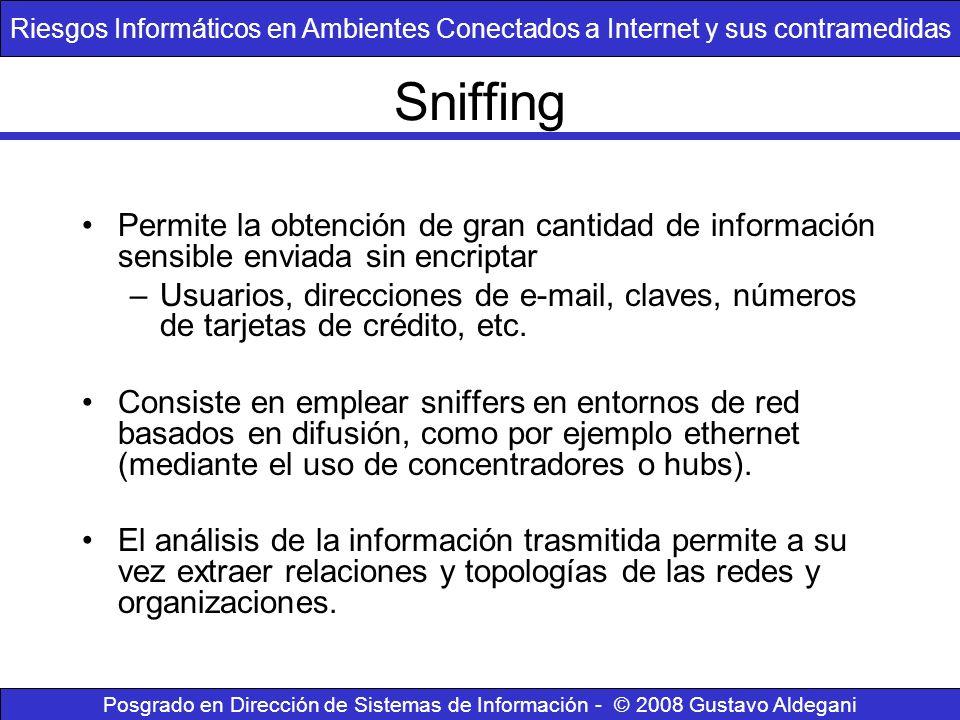 Sniffing Permite la obtención de gran cantidad de información sensible enviada sin encriptar –Usuarios, direcciones de e-mail, claves, números de tarj