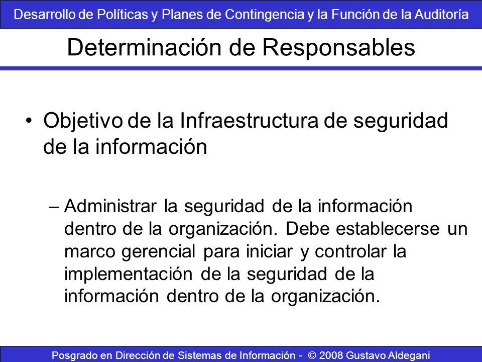 Determinación de Responsables Posgrado en Dirección de Sistemas de Información - © 2008 Gustavo Aldegani Objetivo de la Infraestructura de seguridad d