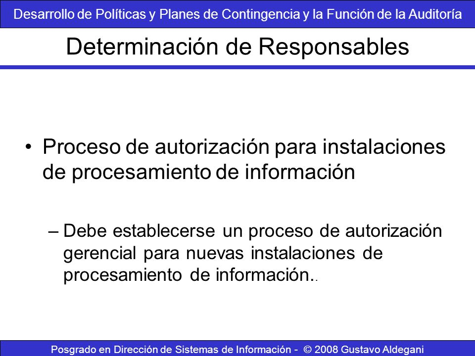 Determinación de Responsables Posgrado en Dirección de Sistemas de Información - © 2008 Gustavo Aldegani Asesoramiento especializado en materia de seguridad de la información –Es probable que muchas organizaciones requieran asesoramiento especializado en materia de seguridad.