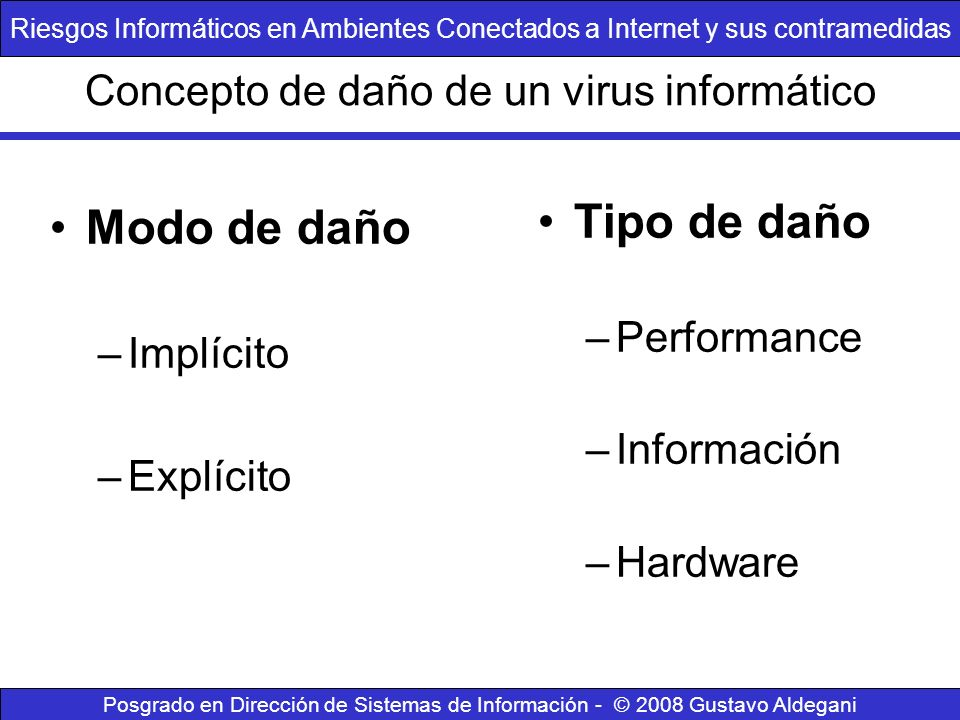 Concepto de daño de un virus informático Modo de daño –Implícito –Explícito Tipo de daño –Performance –Información –Hardware Riesgos Informáticos en A