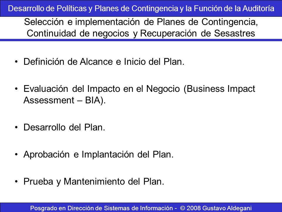 Posgrado en Dirección de Sistemas de Información - © 2008 Gustavo Aldegani Definición de Alcance e Inicio del Plan. Evaluación del Impacto en el Negoc