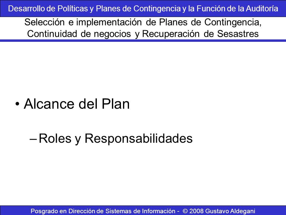 Posgrado en Dirección de Sistemas de Información - © 2008 Gustavo Aldegani Alcance del Plan –Roles y Responsabilidades Selección e implementación de P