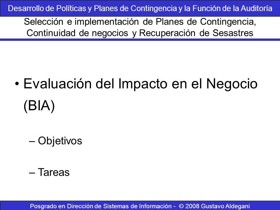 Posgrado en Dirección de Sistemas de Información - © 2008 Gustavo Aldegani Evaluación del Impacto en el Negocio (BIA) –Objetivos –Tareas Selección e i