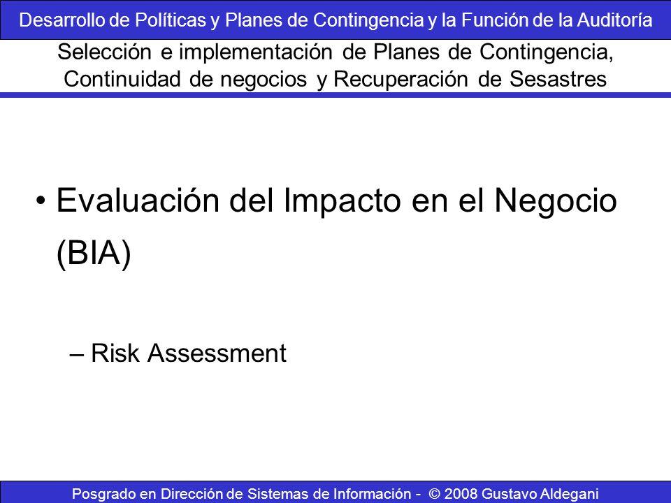 Posgrado en Dirección de Sistemas de Información - © 2008 Gustavo Aldegani Evaluación del Impacto en el Negocio (BIA) –Risk Assessment Selección e imp
