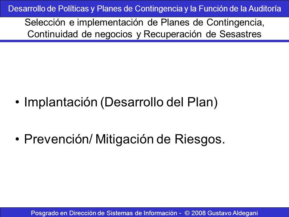 Posgrado en Dirección de Sistemas de Información - © 2008 Gustavo Aldegani Implantación (Desarrollo del Plan) Prevención/ Mitigación de Riesgos. Selec