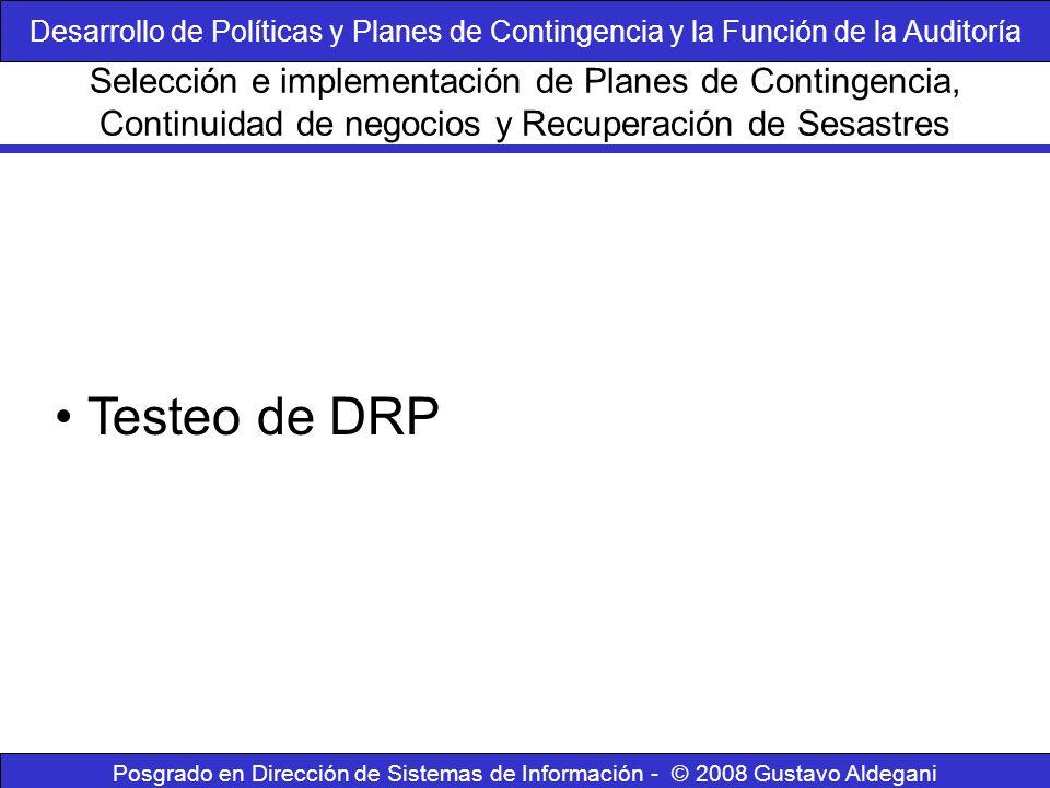 Posgrado en Dirección de Sistemas de Información - © 2008 Gustavo Aldegani Testeo de DRP Selección e implementación de Planes de Contingencia, Continu