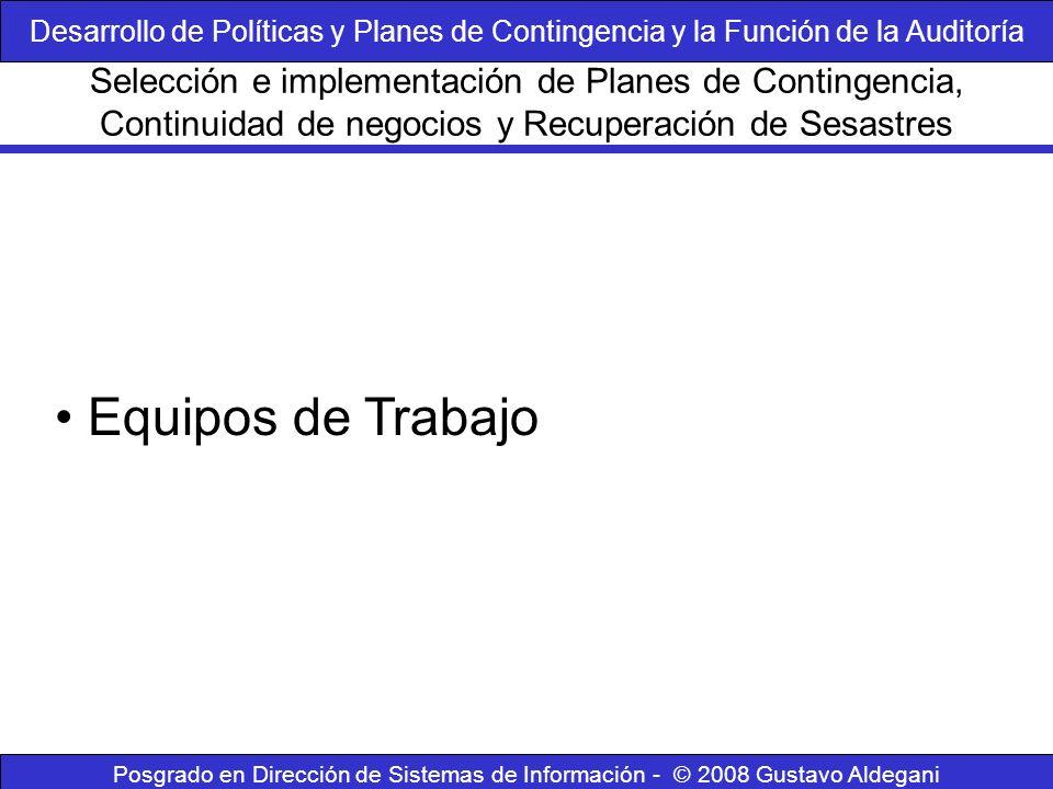 Posgrado en Dirección de Sistemas de Información - © 2008 Gustavo Aldegani Equipos de Trabajo Selección e implementación de Planes de Contingencia, Co
