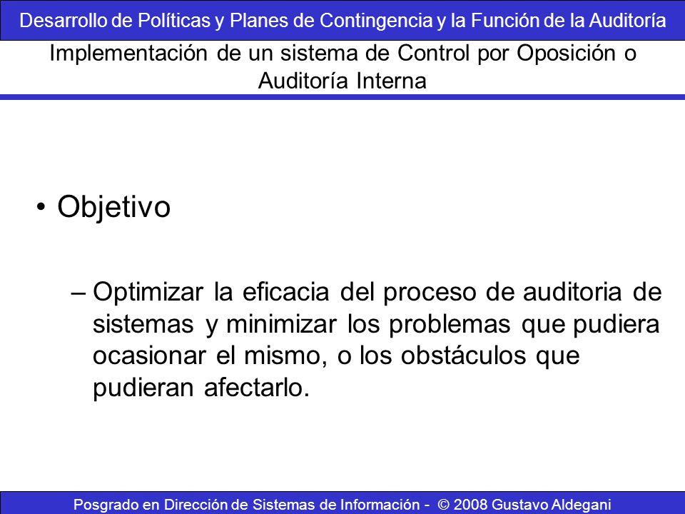Posgrado en Dirección de Sistemas de Información - © 2008 Gustavo Aldegani Controles de auditoría Protección de las herramientas de auditoría Implementación de un sistema de Control por Oposición o Auditoría Interna Desarrollo de Políticas y Planes de Contingencia y la Función de la Auditoría