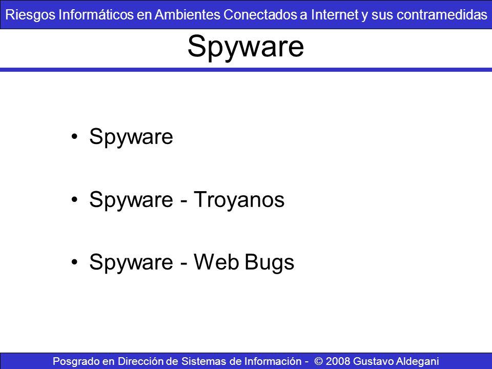 Spyware Spyware - Troyanos Spyware - Web Bugs Riesgos Informáticos en Ambientes Conectados a Internet y sus contramedidas Posgrado en Dirección de Sis