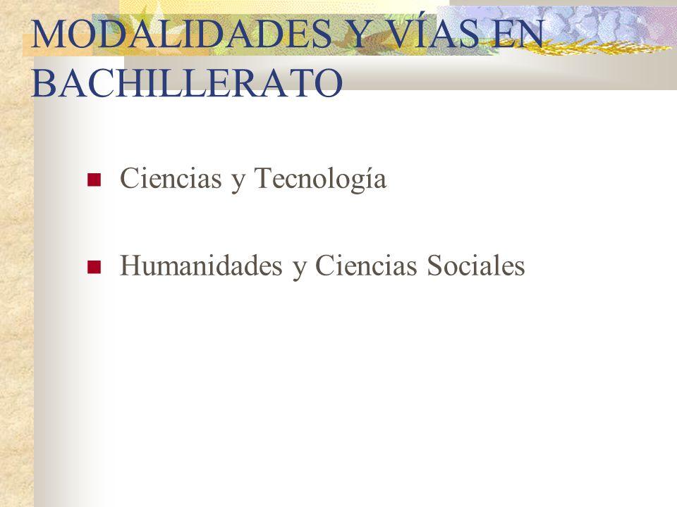 MODALIDADES Y VÍAS EN BACHILLERATO Ciencias y Tecnología Humanidades y Ciencias Sociales